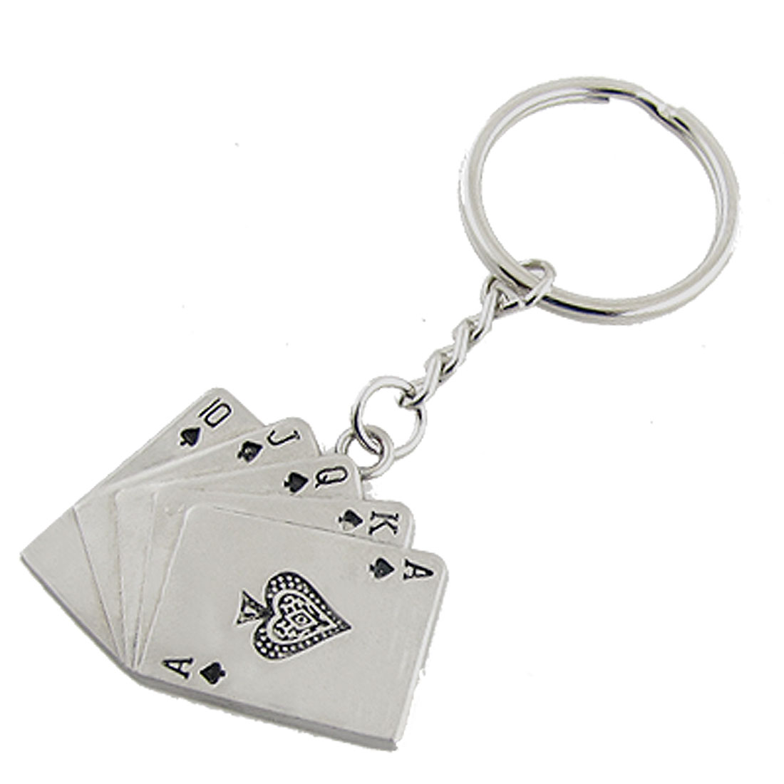 Silver Tone Metal Playing Cards Keyring Keychain