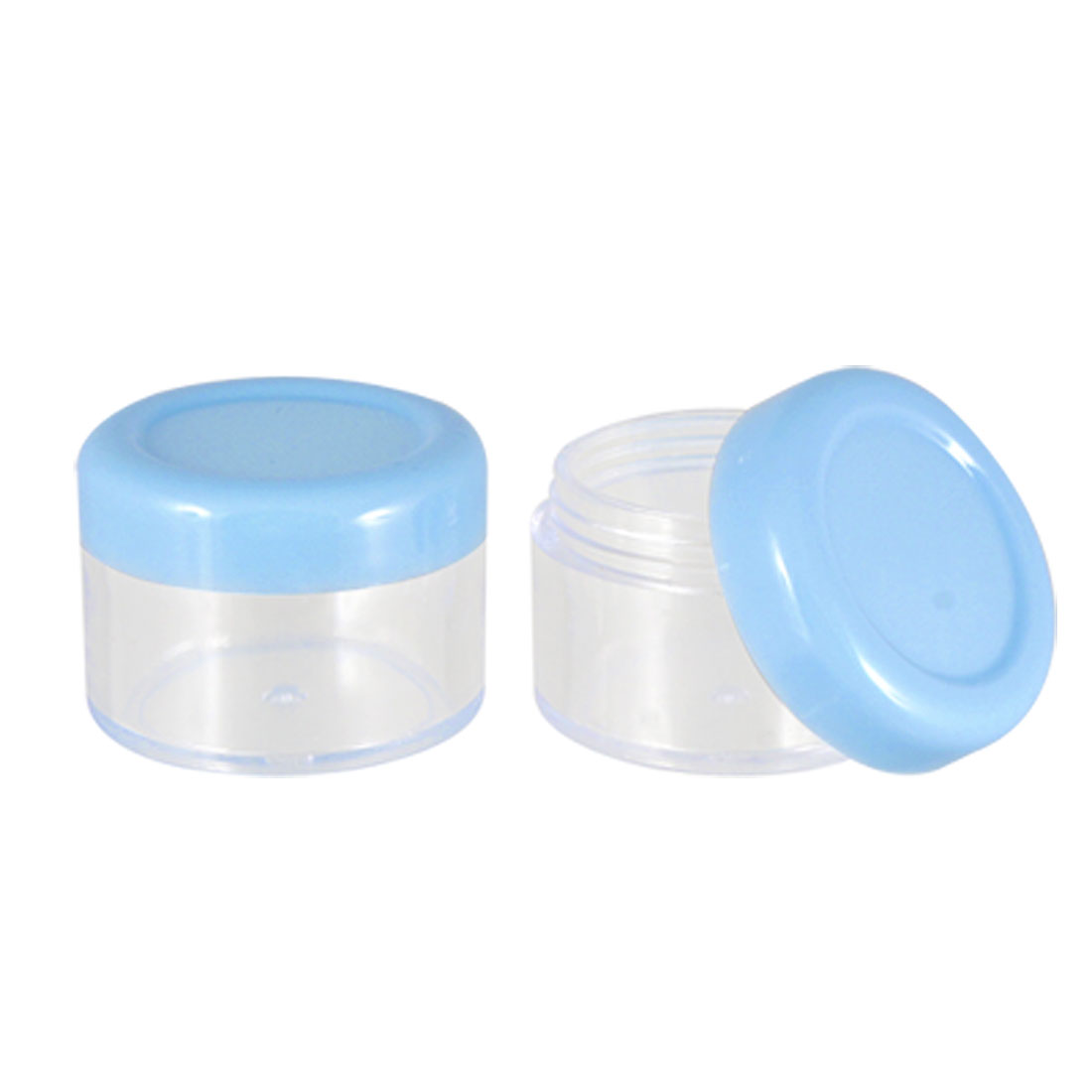 2 Pcs Blue Clear Plastic Cosmetic Face Cream Empty Case