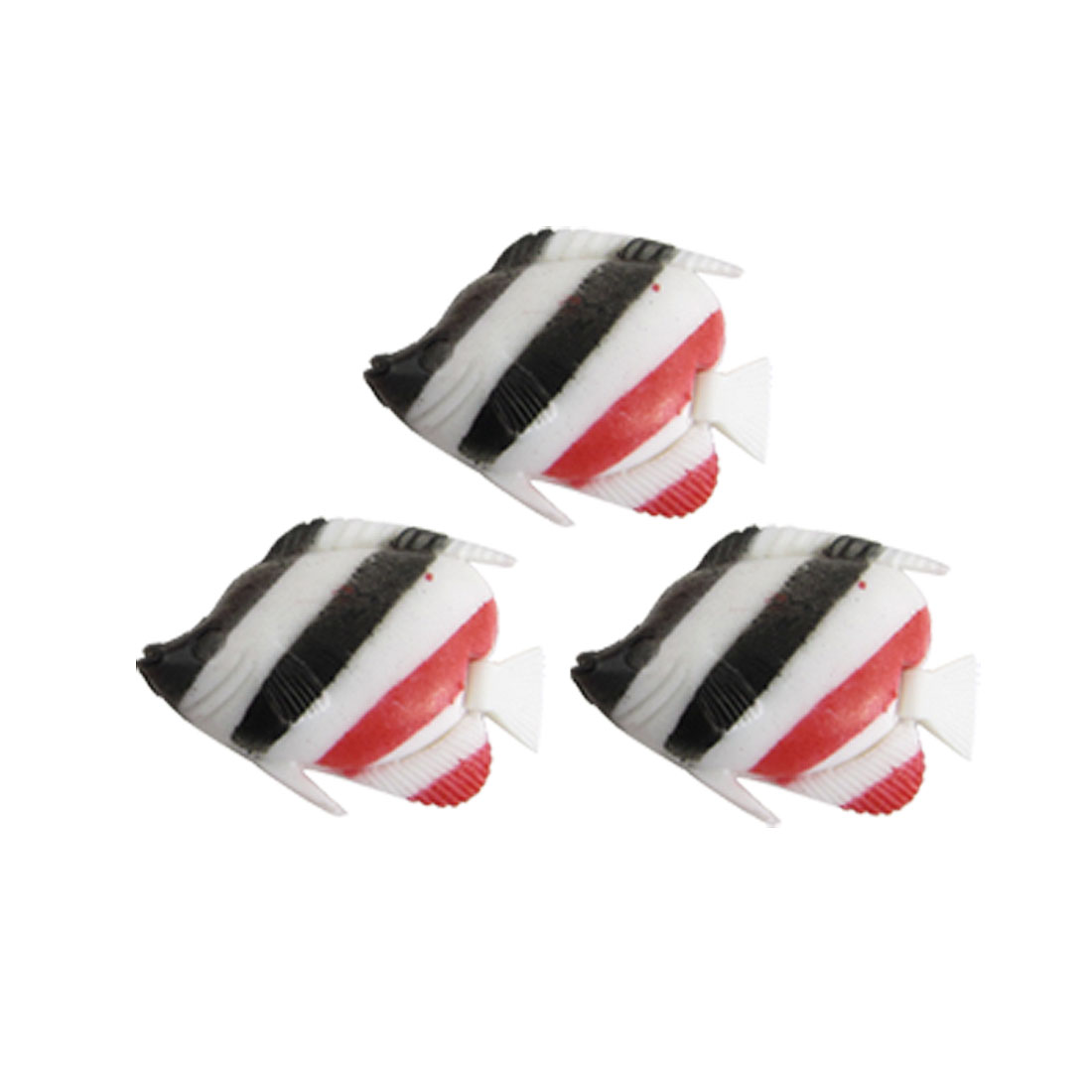 3 Pcs Striped Aquarium Wiggling Tail Plastic Fish Decoration