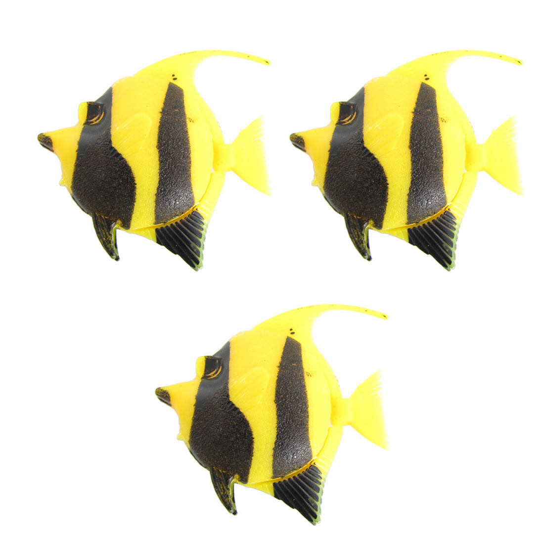 3 Pcs Yellow Black Plastic Floating Tail Fish for Aquarium Fish Tank