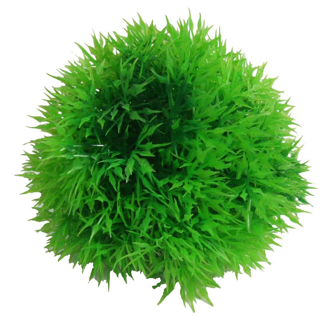 "3.7"" Dia Ball Shape Green Plastic Plant for Fish Tank"