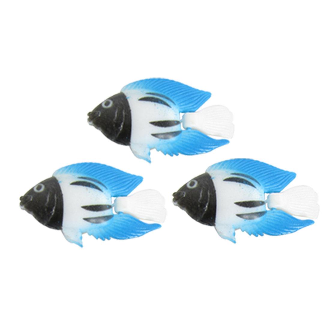 3 Pcs Artificial Three Colors Plastic Fish Aquarium Ornament