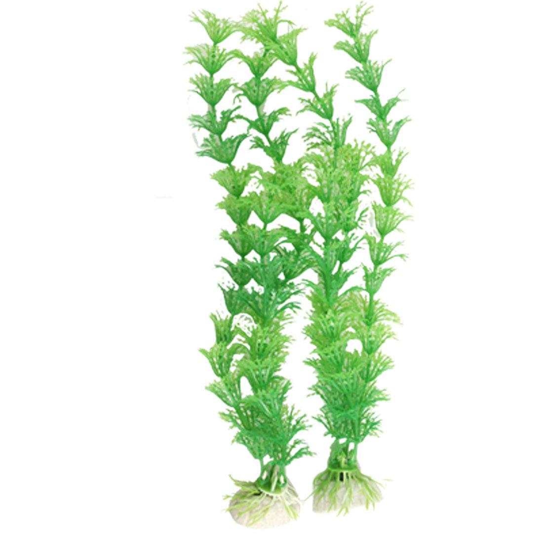 """10.2"""" Green Plastic Plant Aquascaping Fish Tank Decor 2 Pcs"""
