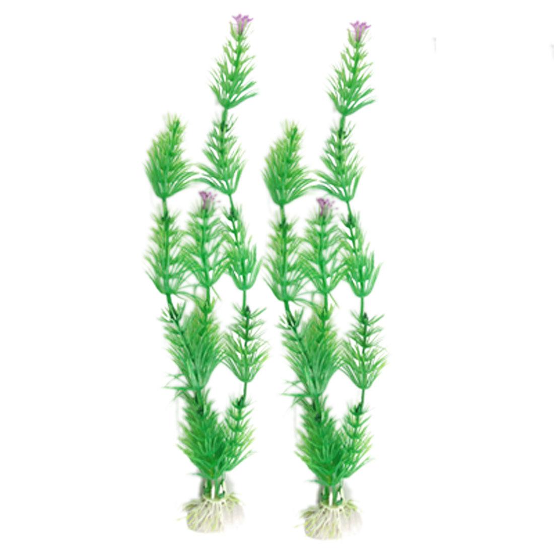 2 Pcs Eusteralis Stellata Shape Green Plastic Plant Aquascaping