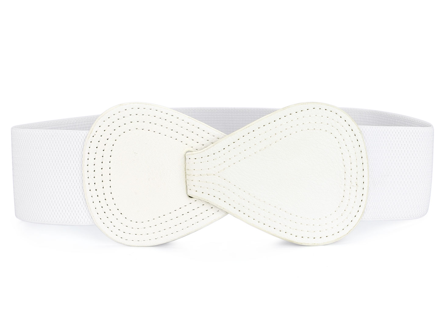 Interlock 8-shaped Buckle Elastic Off White Ladies Waist Belt