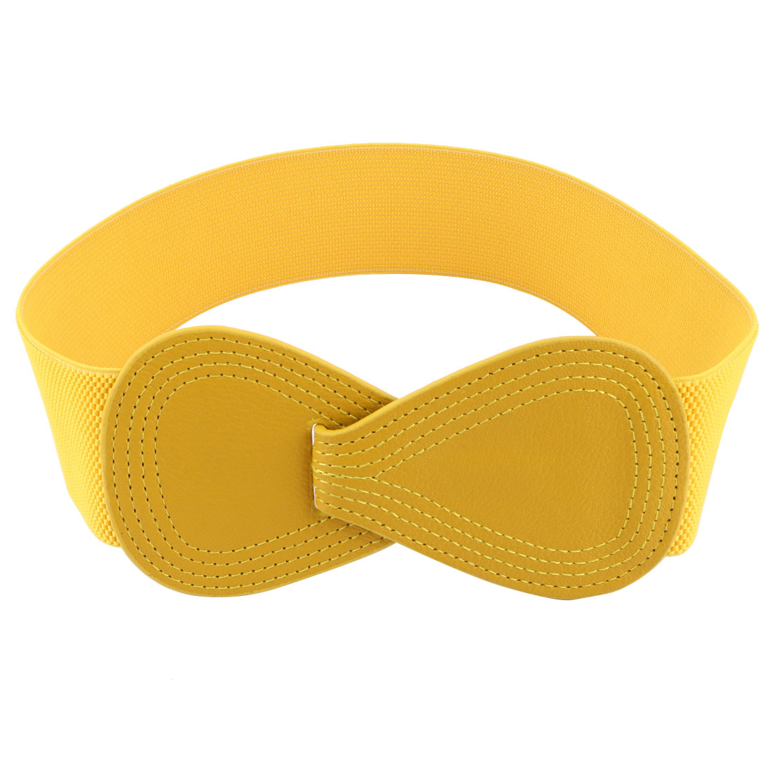 Interlock 8-shaped Faux Leather Buckle Elastic Belt Yellow for Lady