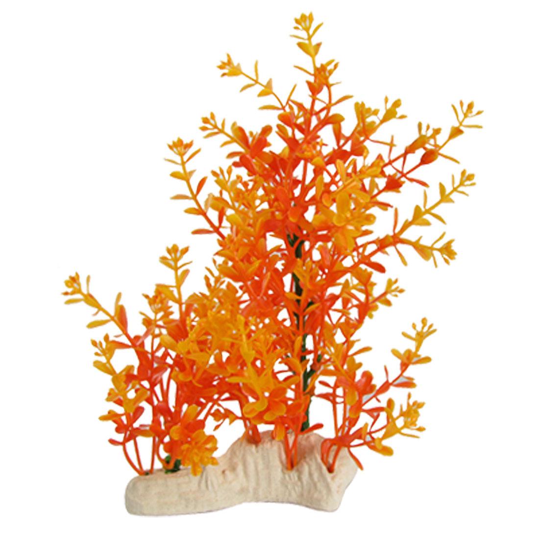 Plastic Water Grass Aquarium Decoration w Ceramic Base
