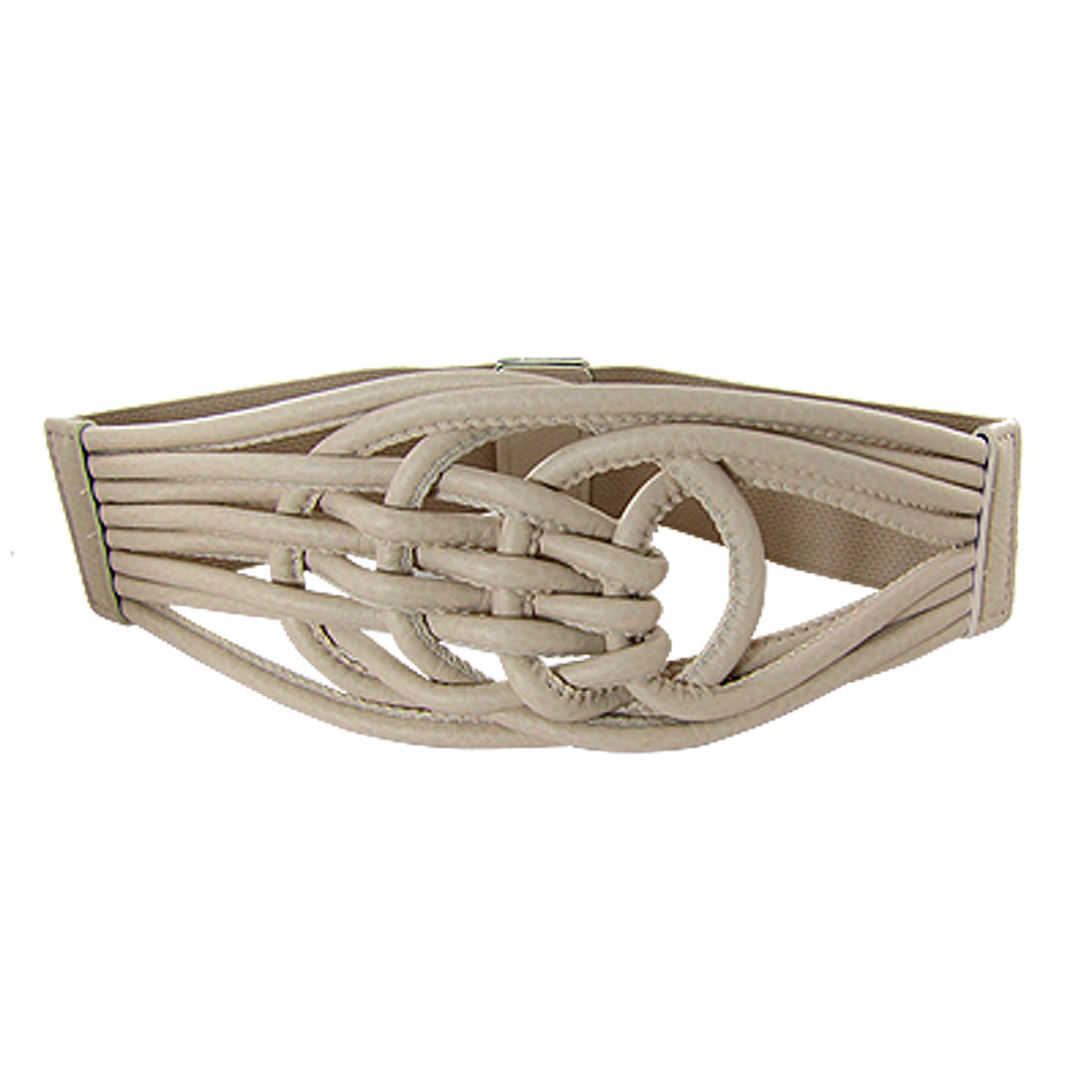 Ladies Whip Stitch Chinese Knot High Waist Belt Beige
