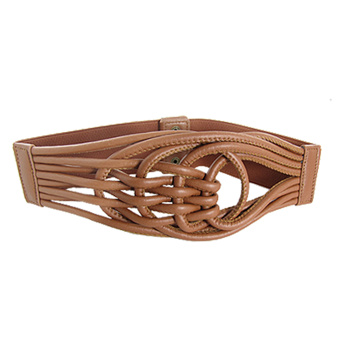 Brown Chinese Knot Elastic Belt w Press Studs for Lady