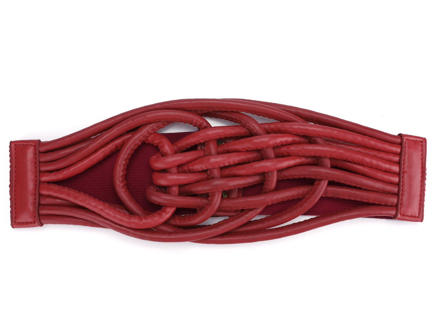 Faux Leather Chinese Knot Elastic Wide Belt Red for Lady