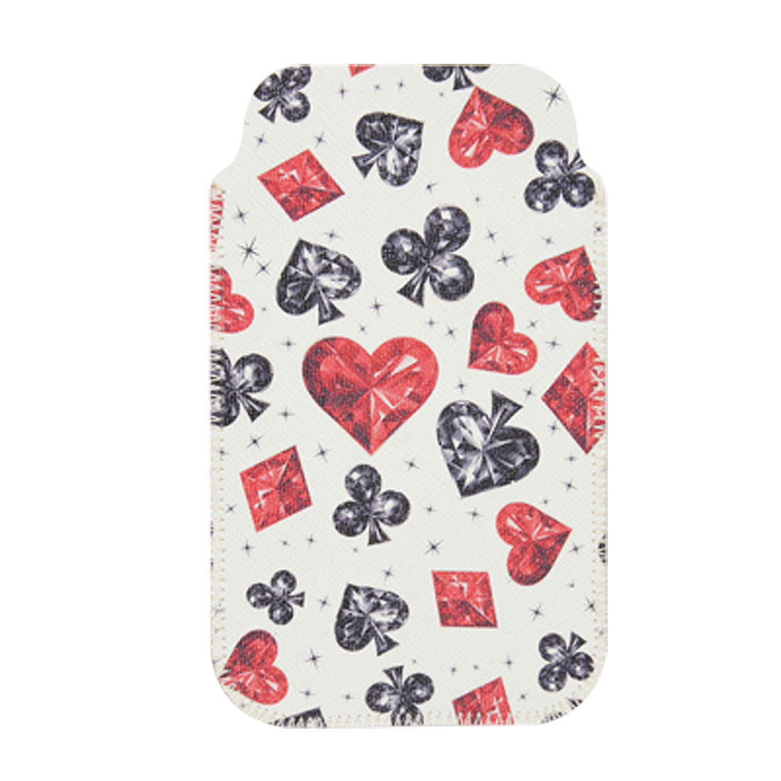 Red Heart Rhombus Printed Faux Leather Pouch for iPhone 4 4G