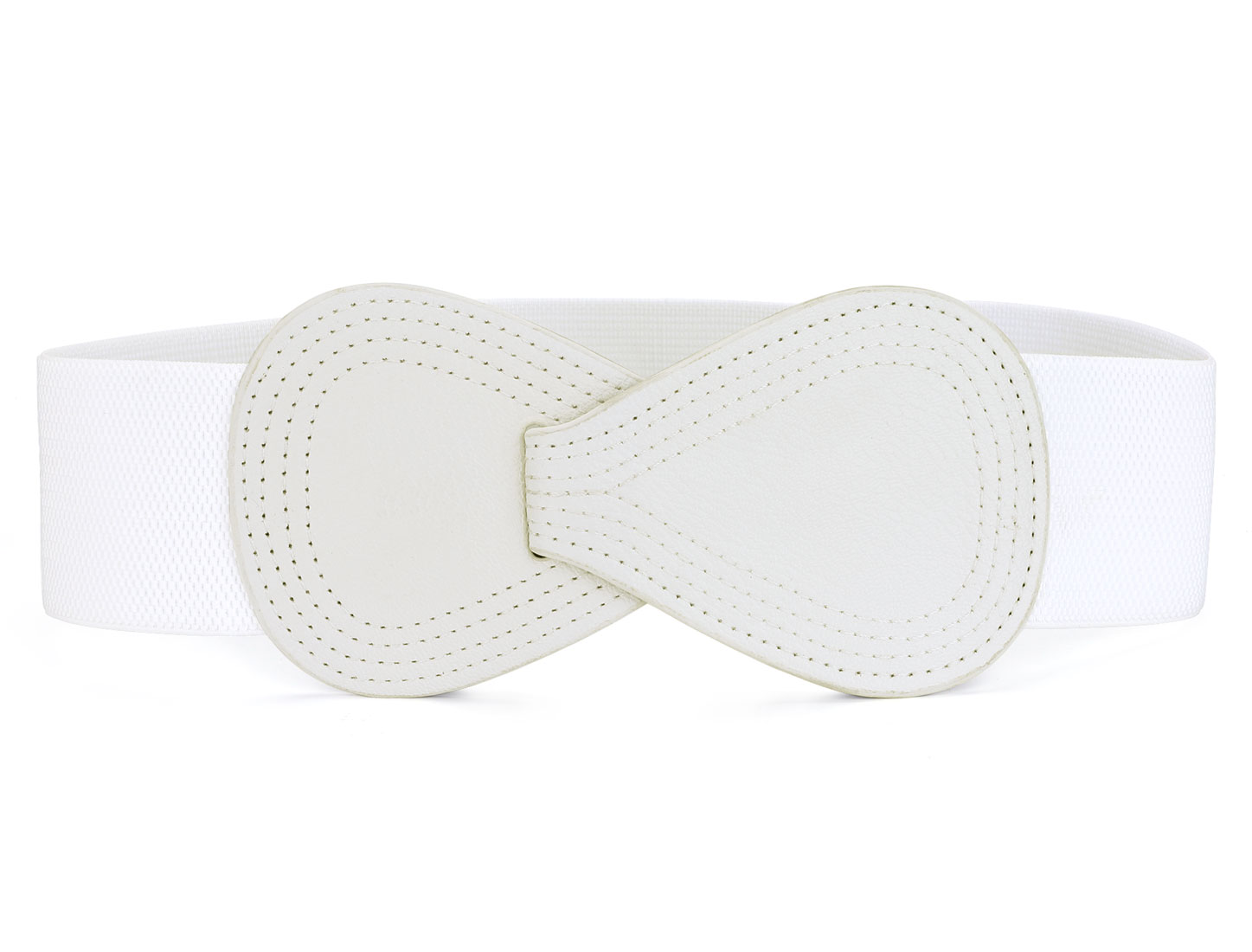 White Interlocking 8-shaped Buckle Stretchy Wait Belt for Ladies