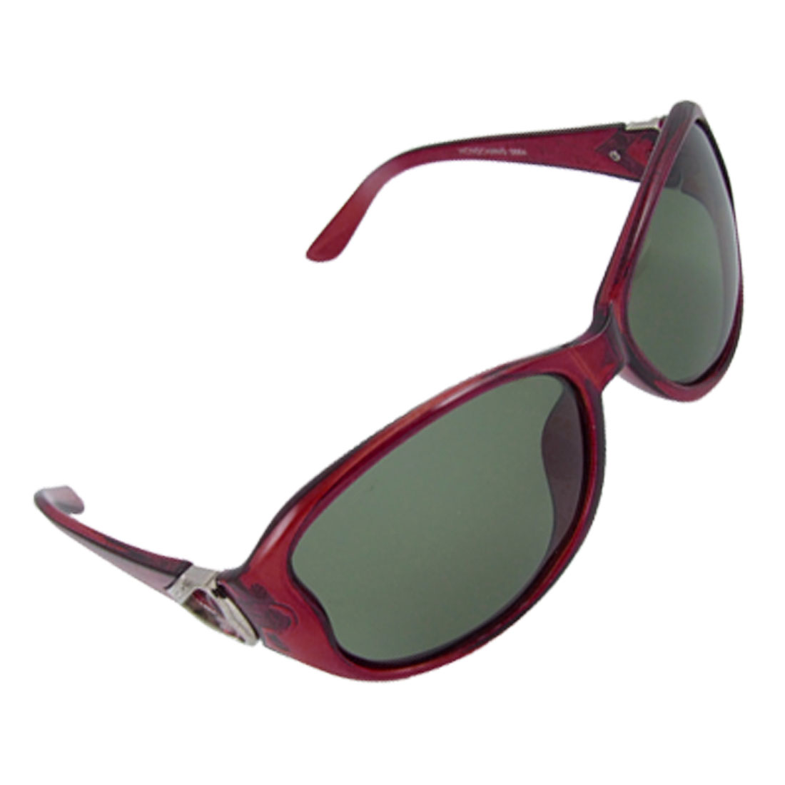 Burgundy Plastic Frame Green Polarized Lens Sunglasses w Pouch for Lady