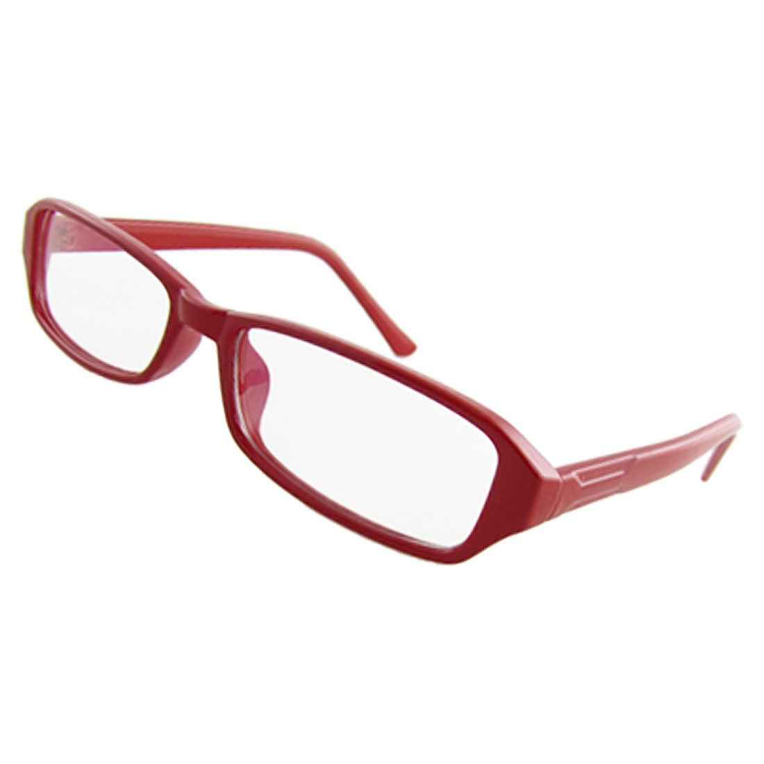Woman Red Plastic Full Rim Multi Coated Lens Plain Spectacles Glasses