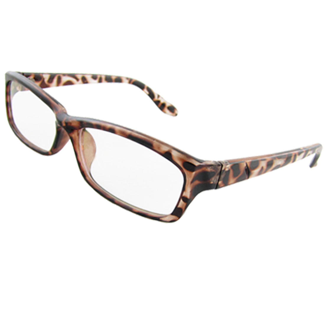 Woman Multi Coated Lens Leopard Pattern Full Rim Plain Glasses