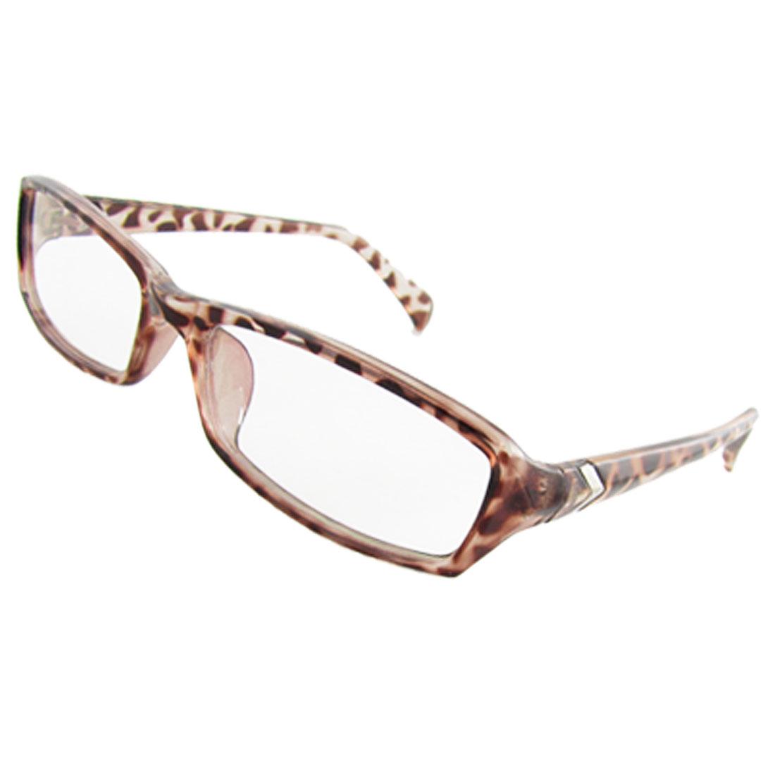 Leopard Pattern Plastic Full Rim Multi Coated Lens Plain Glasses for Lady