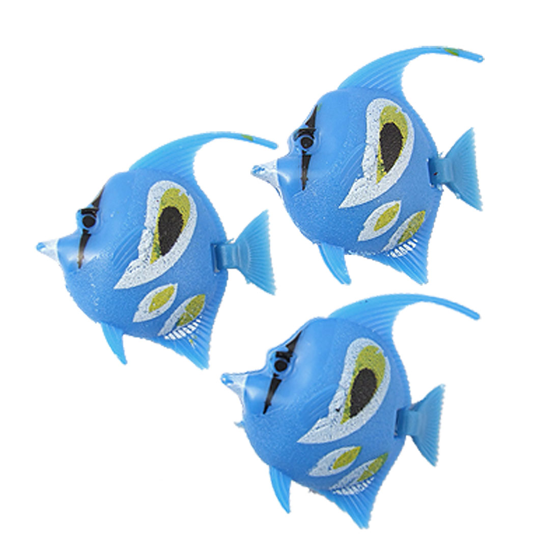 3 Pcs Blue Plastic Floating Fish Decoration for Aquarium
