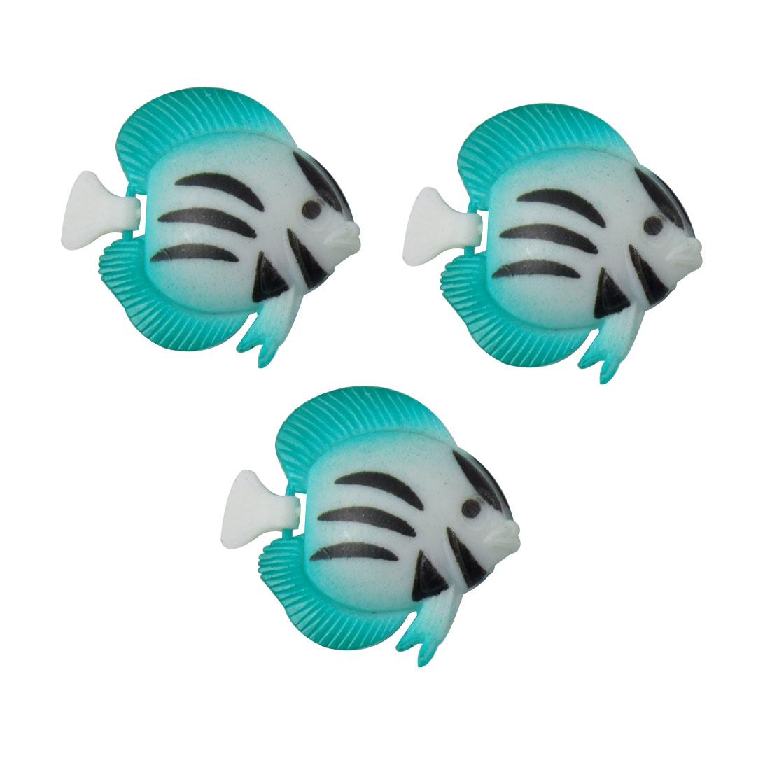 Aquarium Plastic Black Striped Floating Fish Ornament 3 Pcs