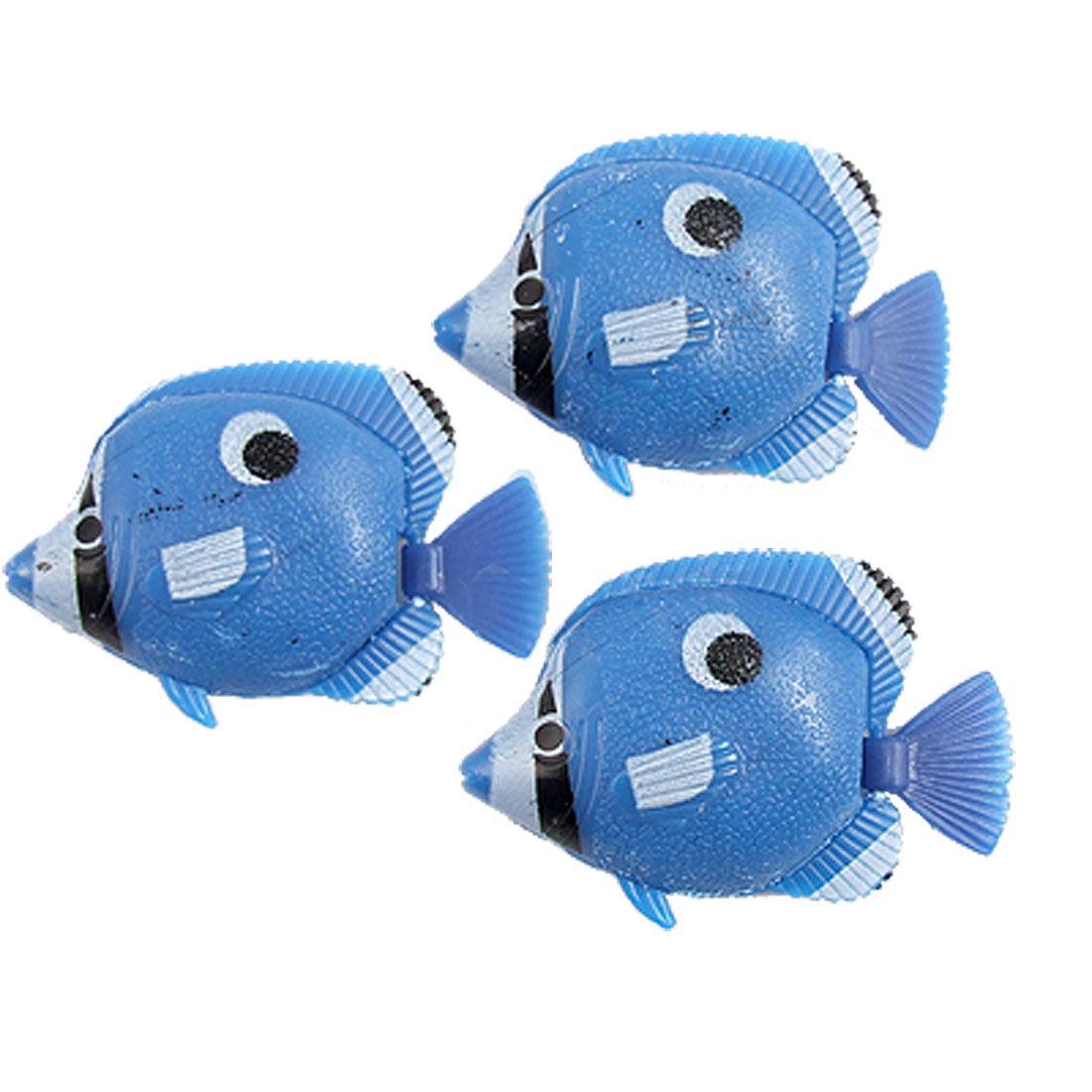 3 Pcs Wiggly Tail Blue Plastic Fish Ornament for Aquarium