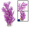 Aquarium White Purple Plastic Plant Decoration w Ceramic Base