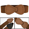 Brown Elastic Interlocking 8-shaped Buckle Waist Belt for Ladies