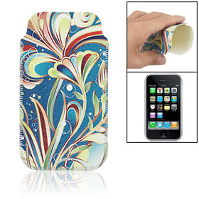 Faux Leather Floral Sleeve Protector for iPhone 3G 3GS