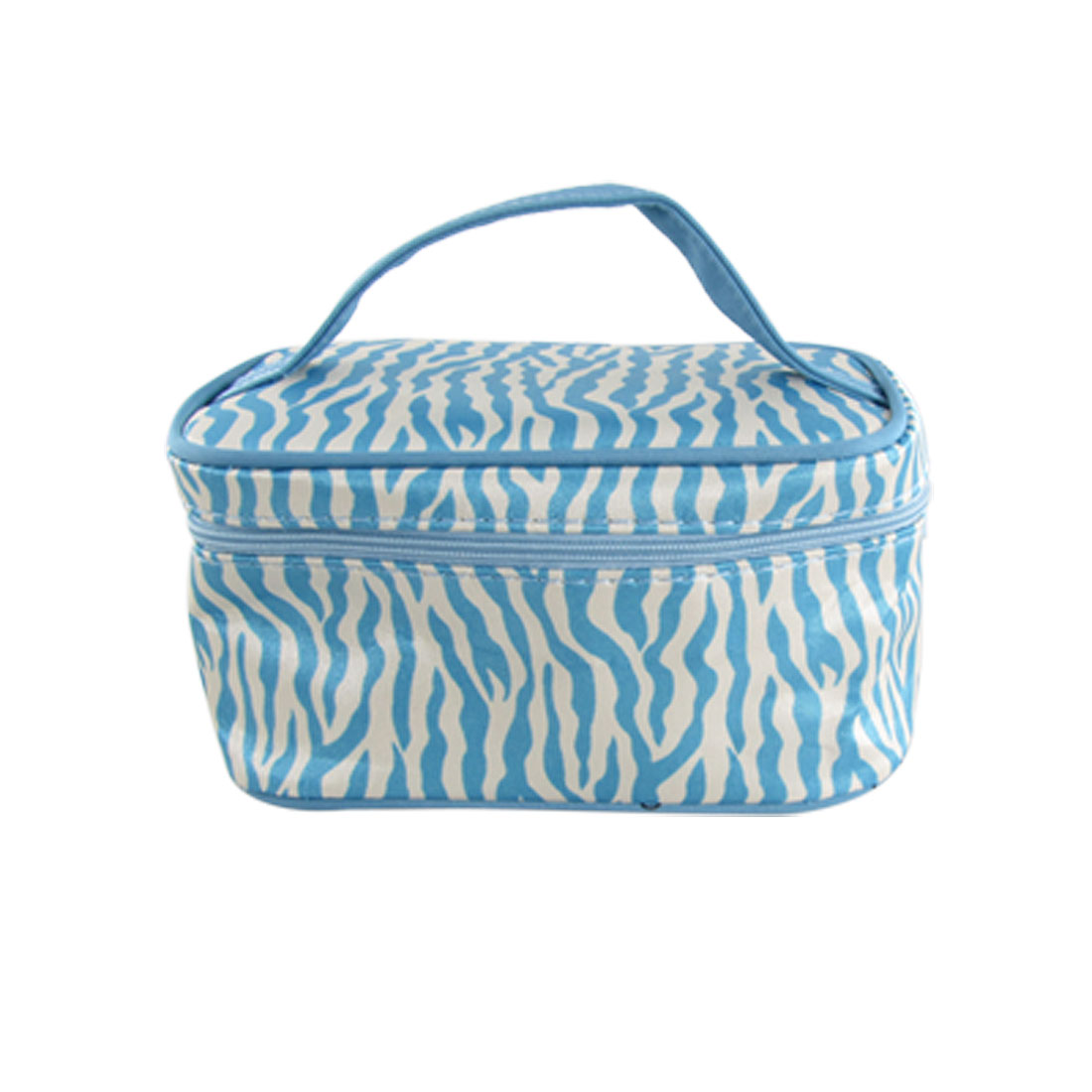 Blue White Zebra Stripes Pattern Zippered Cosmetic Bag with Mirror