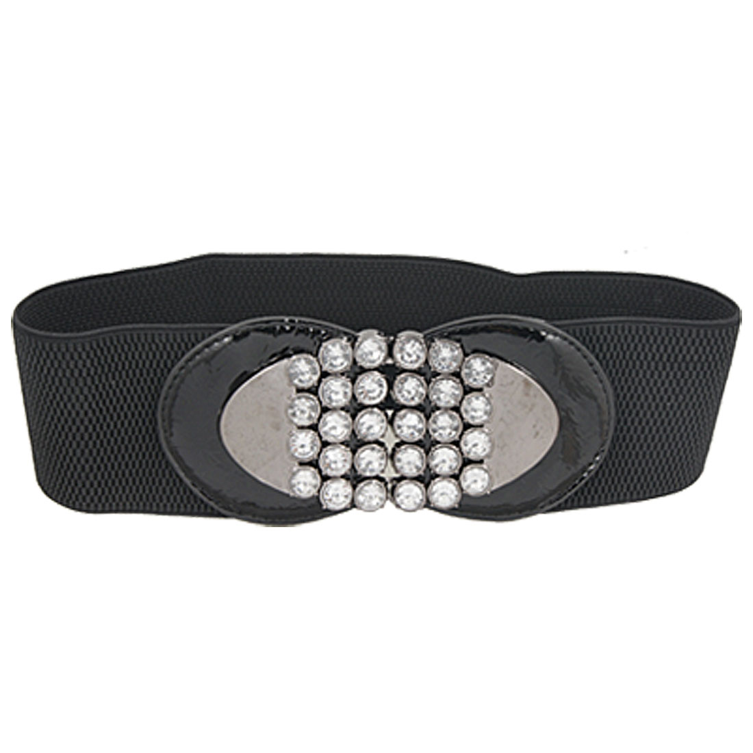 Ladies Rhinestone Inlaid Oval Interlock Buckle Black Elastic High Waist Belt