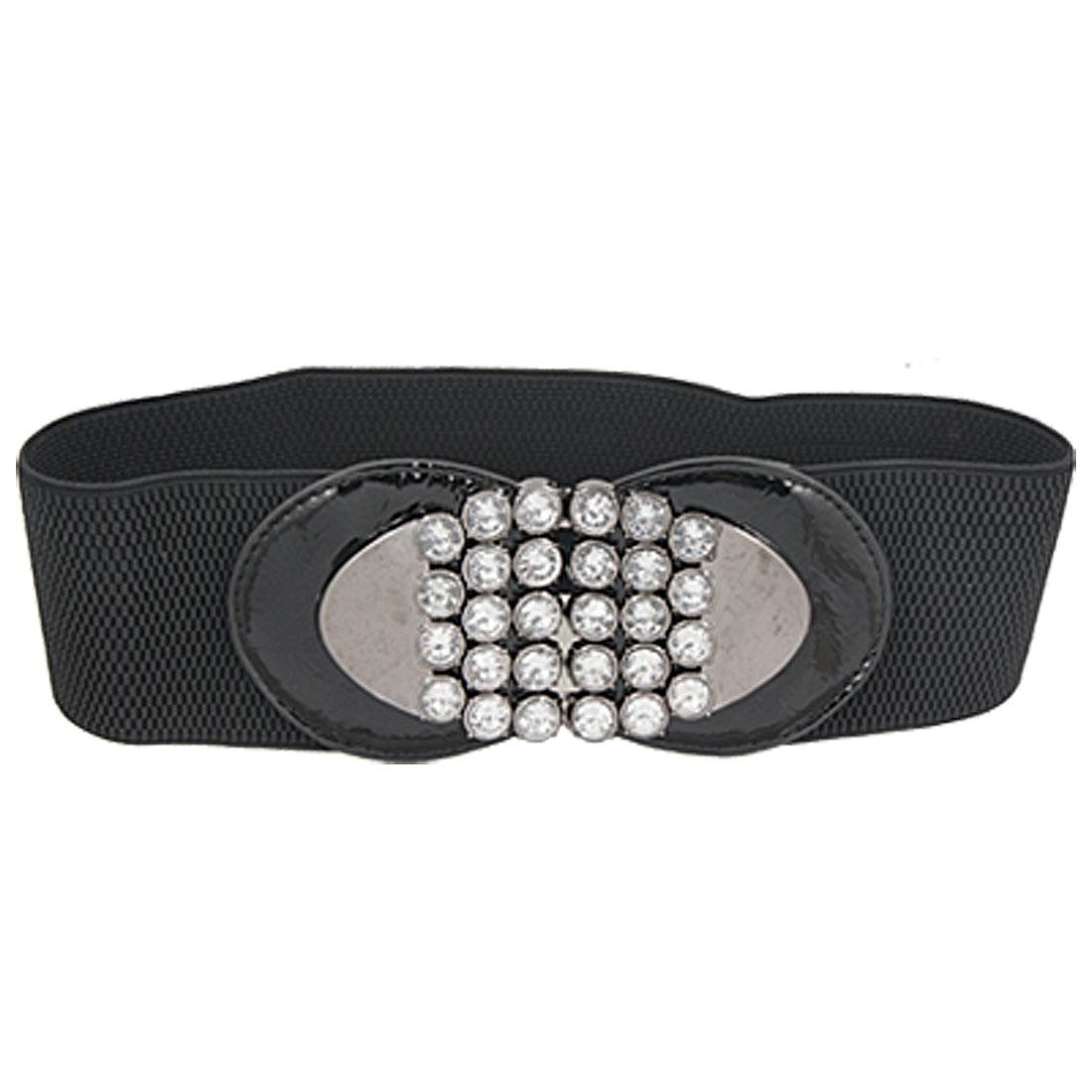 Ladies Rhinestone Inlaid Oval Interlock Buckle Black Elastic High Waist Belt