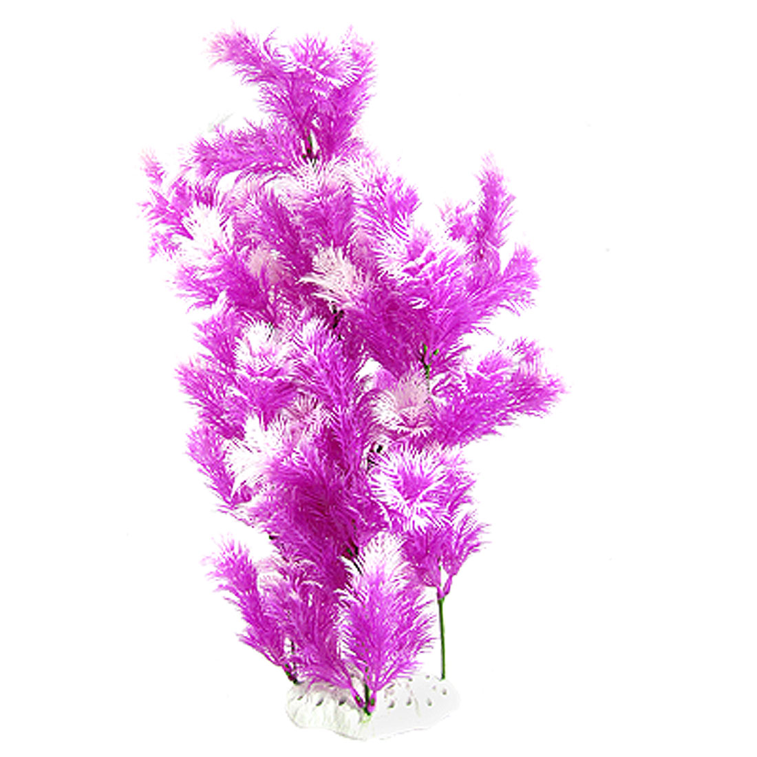 Ceramic Base Purple White Artificial Plastic Long Grass for Aquarium
