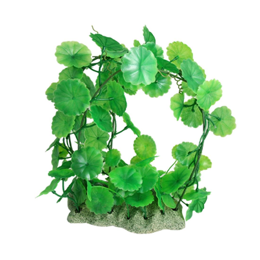 Green Plastic Orbicular Leaf Plant Vines Aquarium Ornament