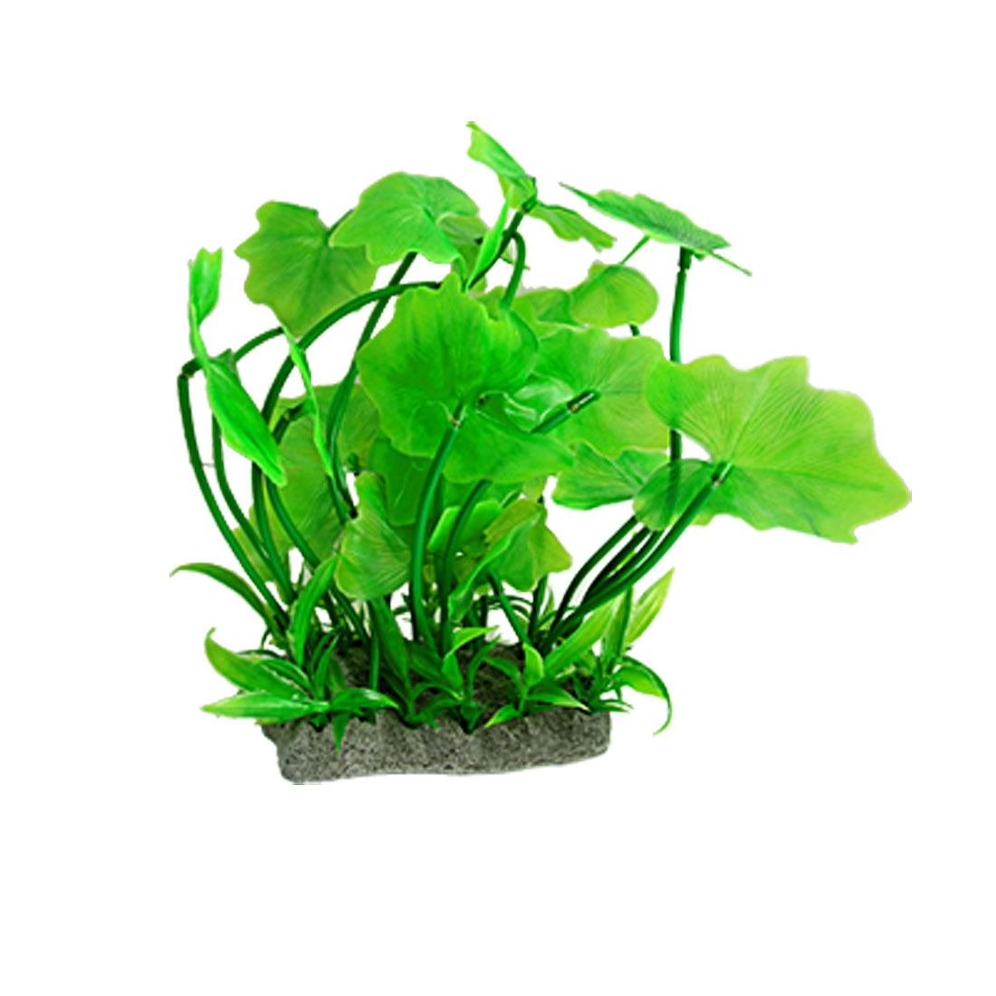 Aquarium Green Plastic Lobed Leaves Plant Cluster Ornament