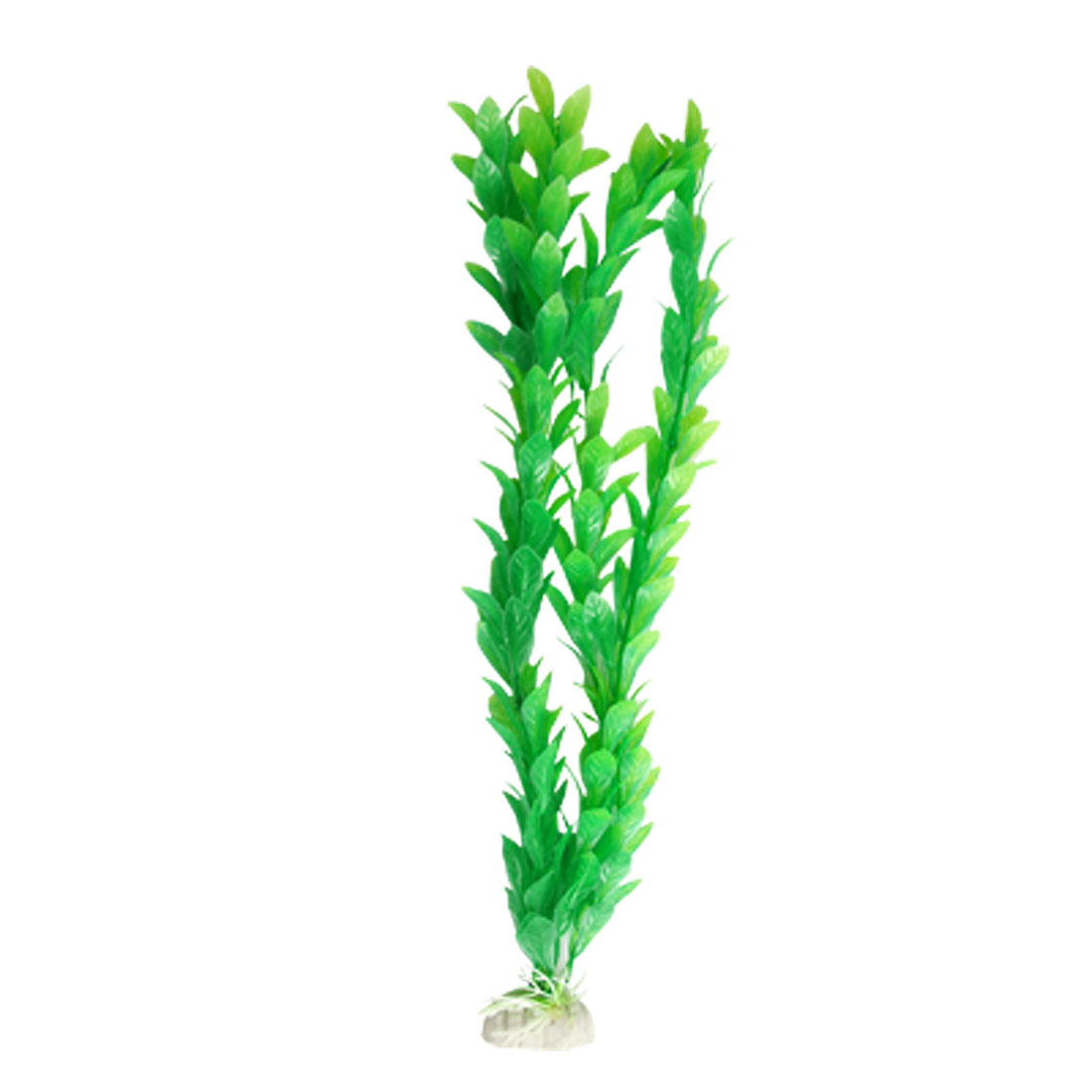 Oblanceolate Leaf 14 Inch Green Plastic Plant for Aquarium