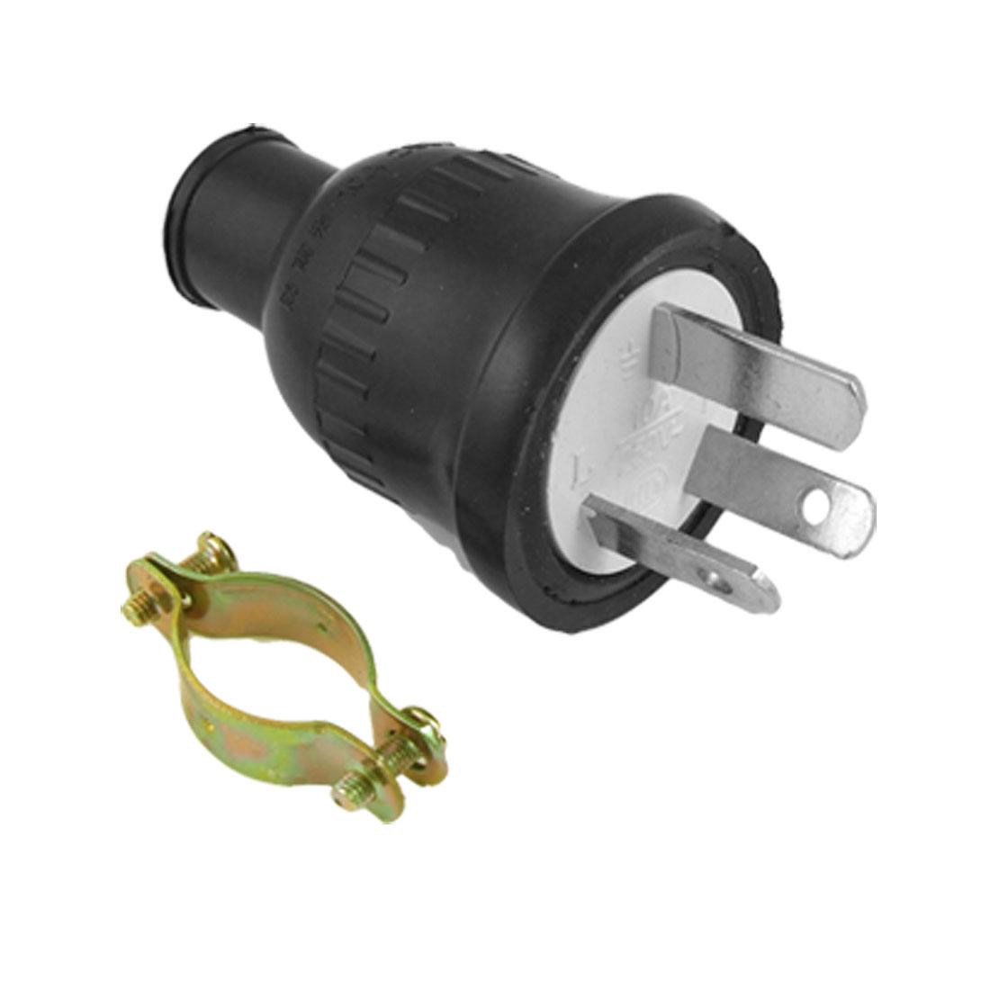 AU Plug AC 250V 10A Black Plastic Housing Power Cord w Locking Ring