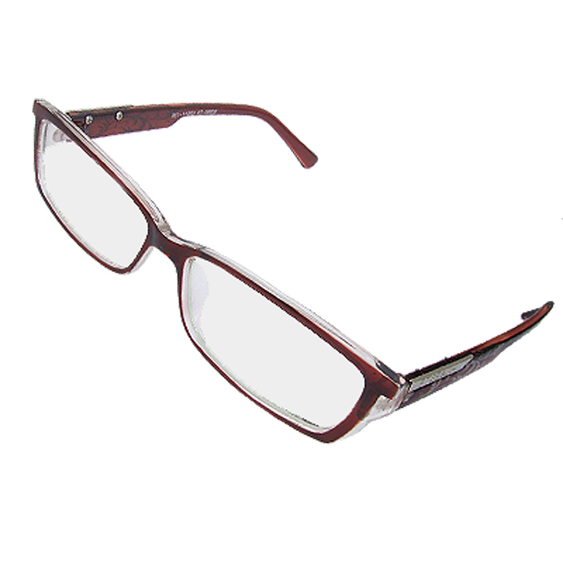 Floral Decor Arms Brown Clear Frame Multi Coated Lens Plain Glasses for Lady