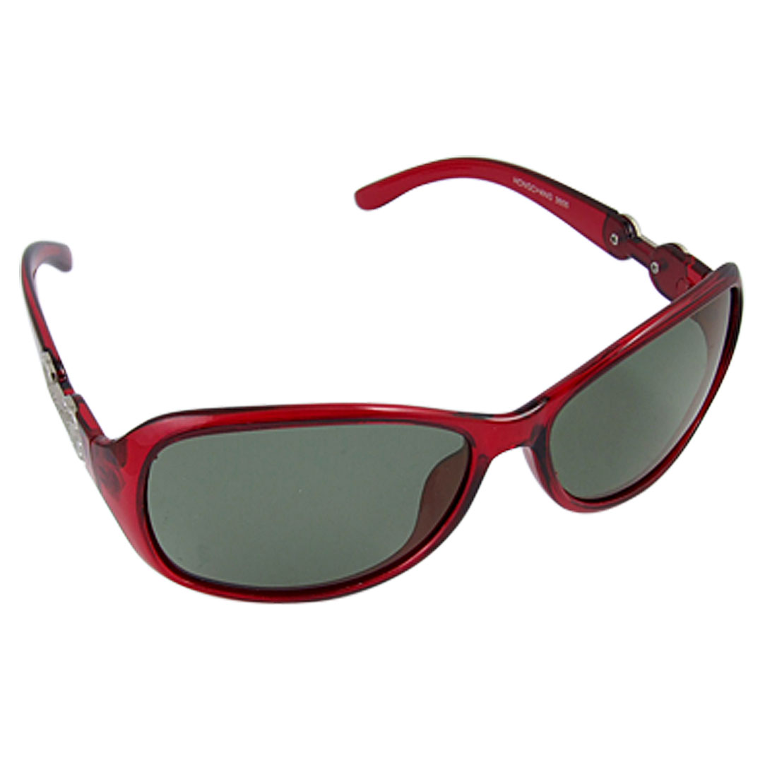 Women Metal Detailing Burgundy Plastic Arms Green Lens Polarized Sunglasses