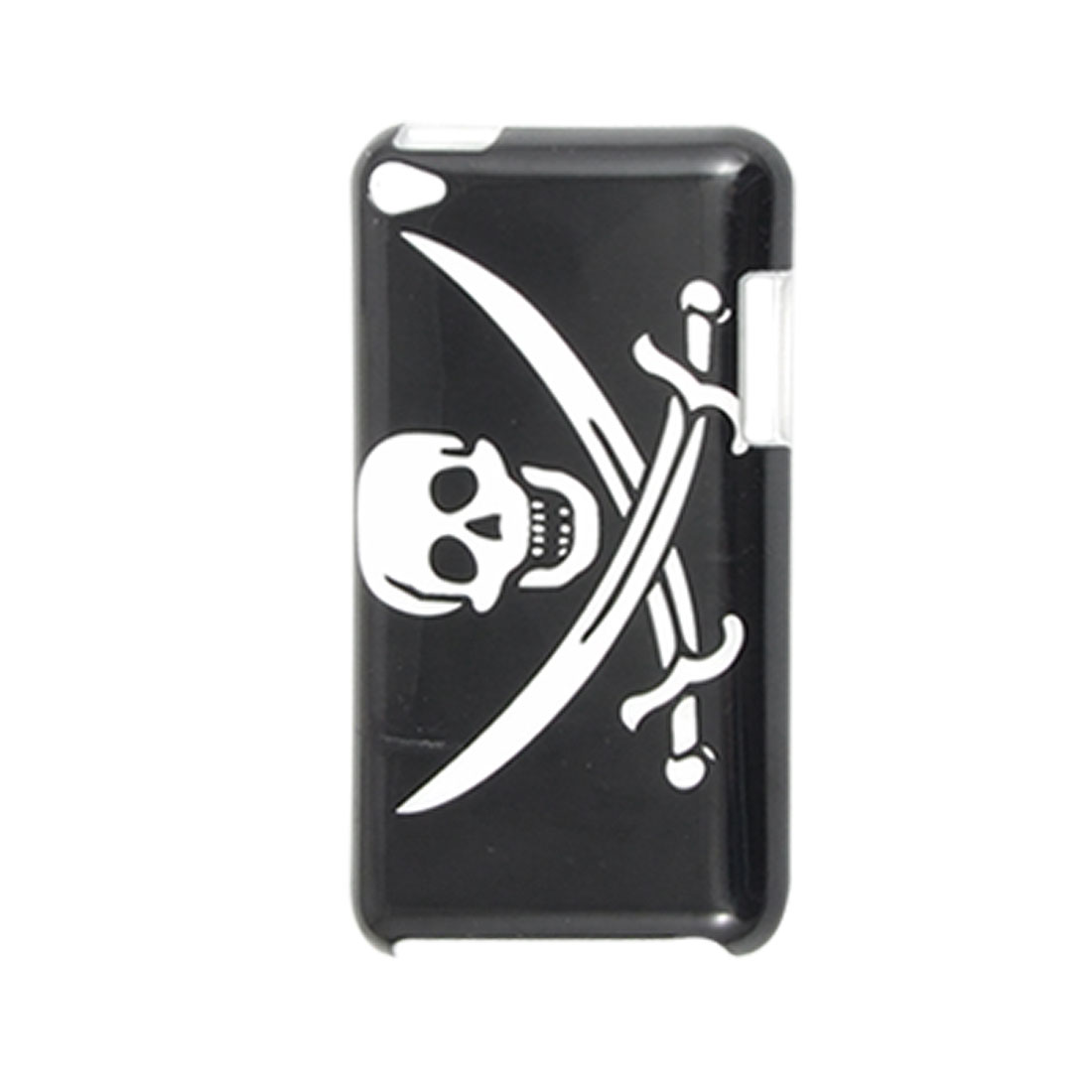 White IMD Skull Black Back Case Cover for iPod Touch 4G