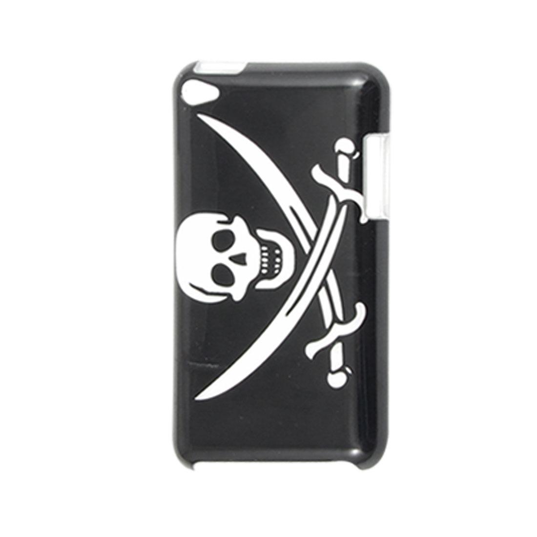 White IMD Skull Black Back Case Cover for iPod Touch 4G