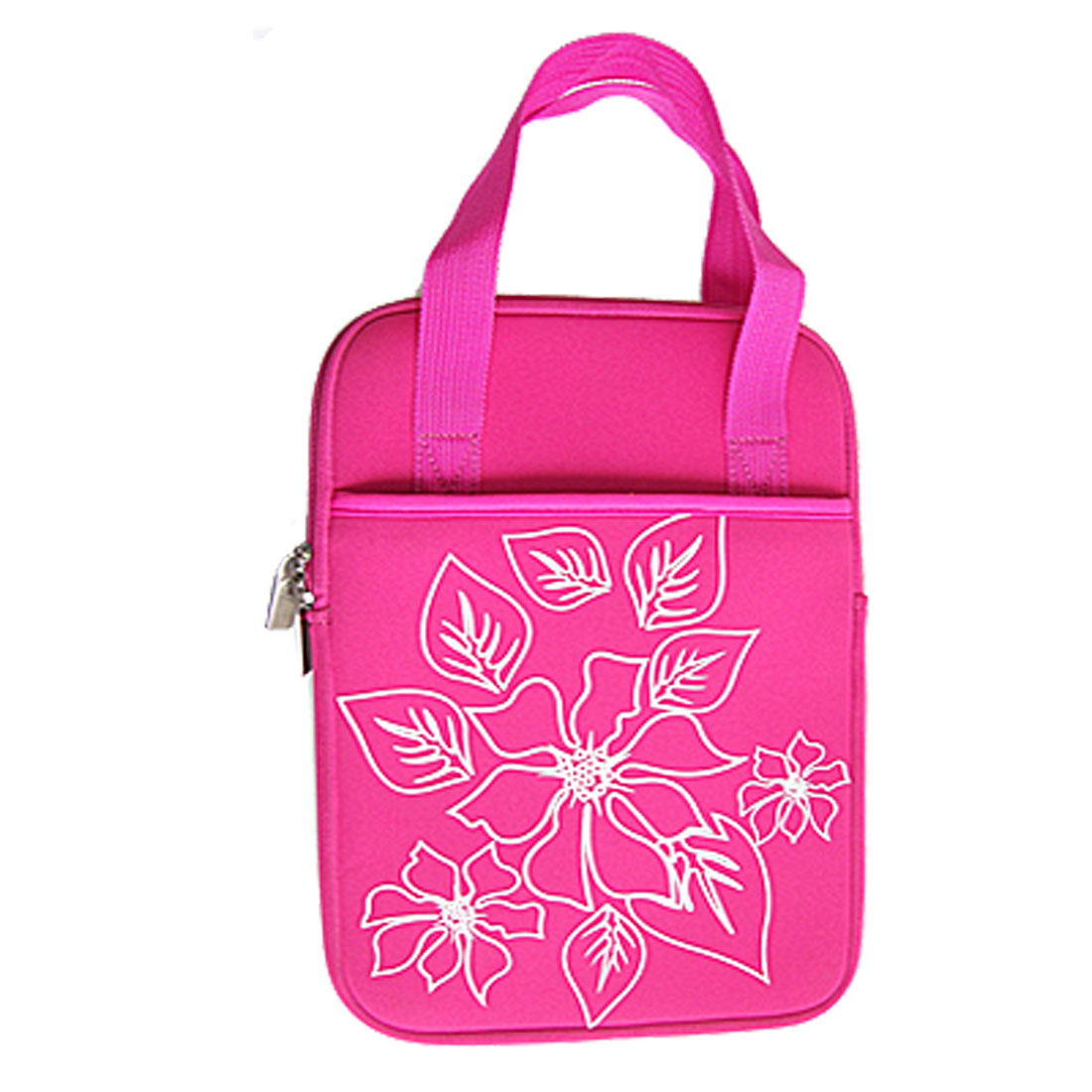 "10"" 10.1"" 10.2"" Fuchsia Flower Print Laptop Sleeve Bag Case w Handle"