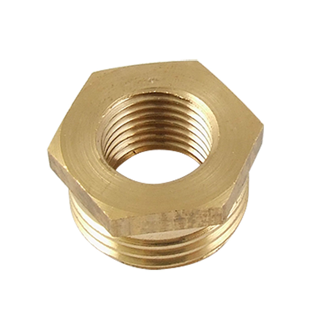 "0.8"" Male 0.46"" Female Thread Pipe Connector Socket Gold Tone"