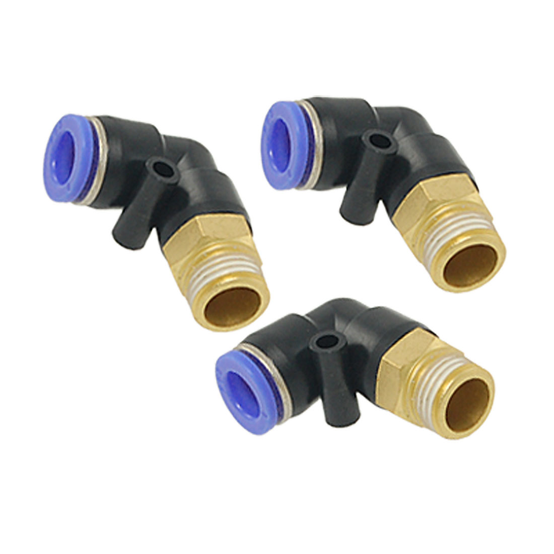 3 Pcs 8mm OD Tubing Air Pneumatic Elbow Quick Fittings
