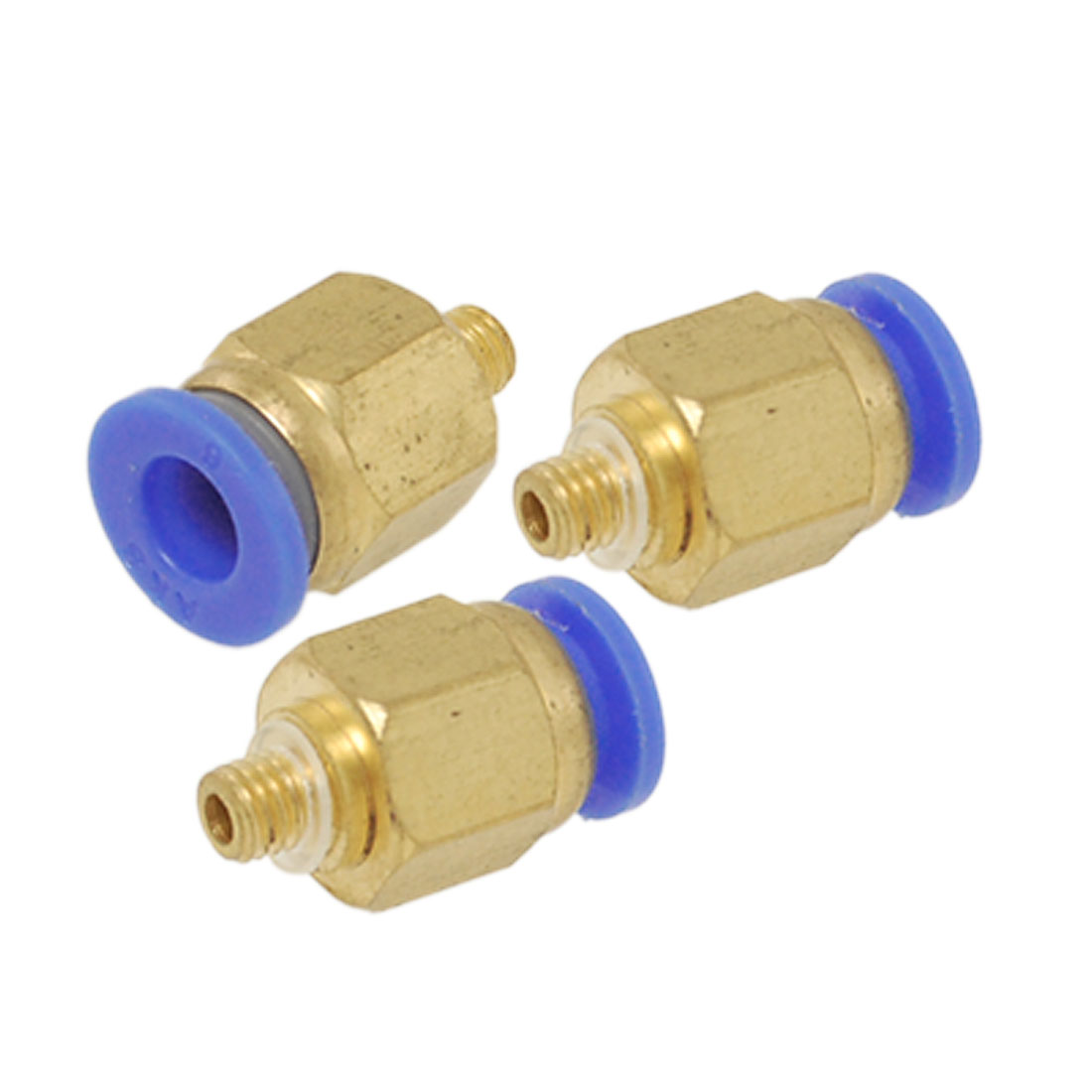 3 Pcs Pneumatic Chrome-plated Brass Push In Quick Joint Fittings