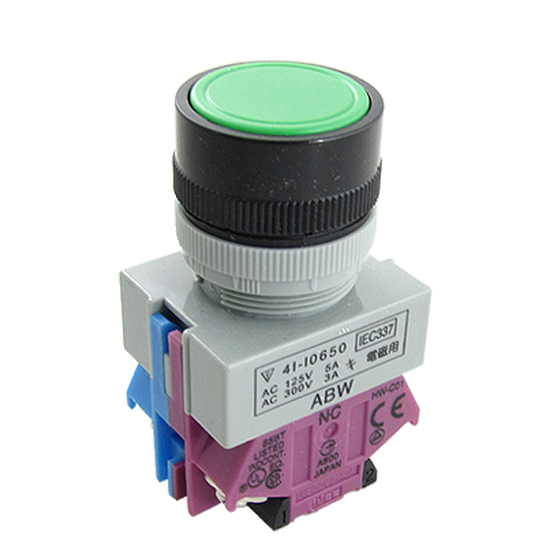 AC 600V 10A Green Sign Ignition Momentary Push Button Switch 22mm 1 NO 1 NC