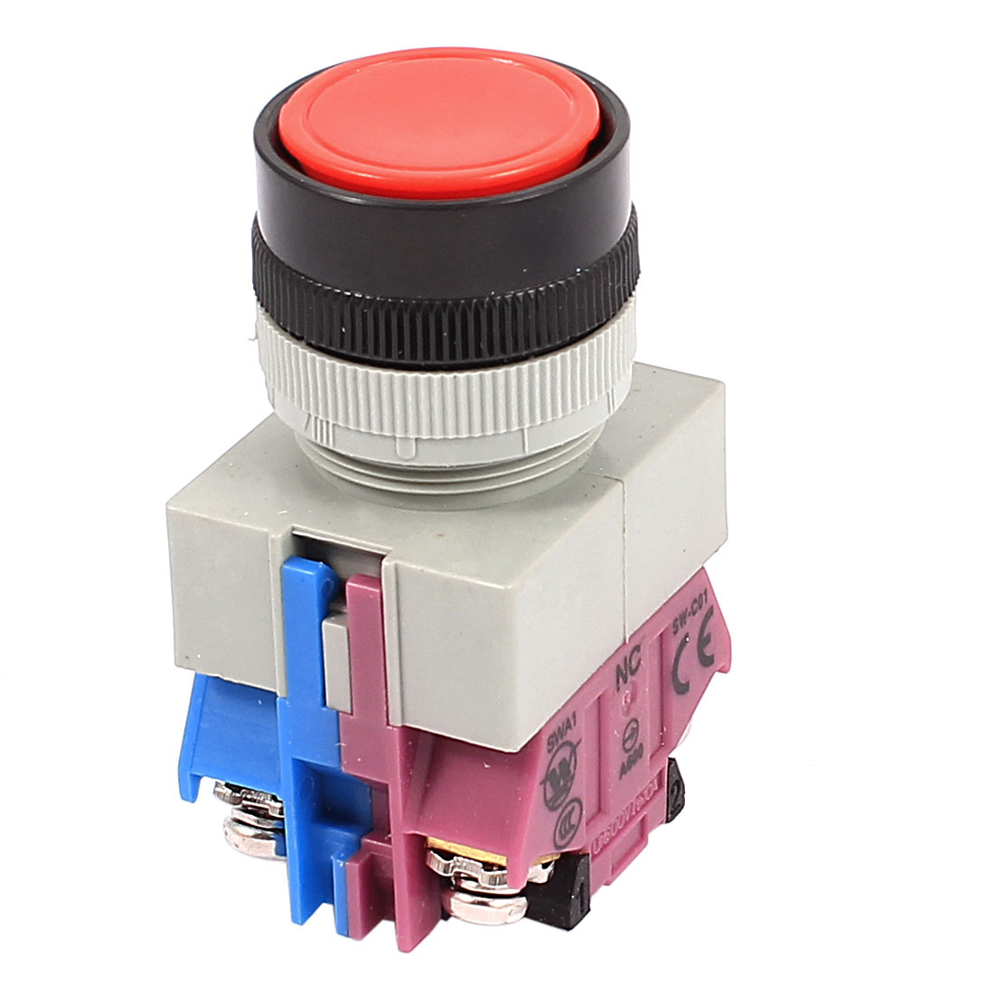 AC 600V 10A Red Sign Ignition Momentary Push Button Switch 22mm DPST 1 NO 1 NC