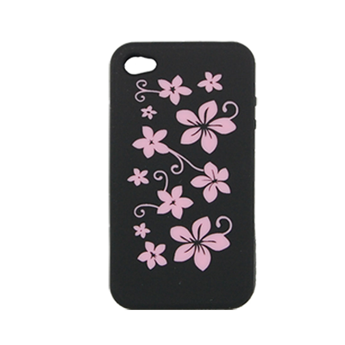 Black Silicone Flower Pattern Case Cover for iPhone 4 4G