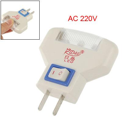 2 Pin US Plug AC220V Wall Plug White LED Night Lamp Room Light