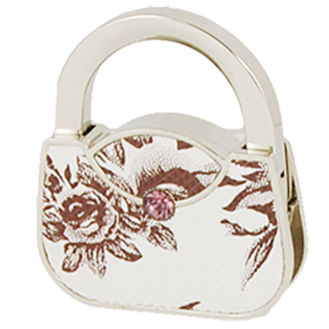 Flower Print Handbag Shape Purse Foldable Table Hook