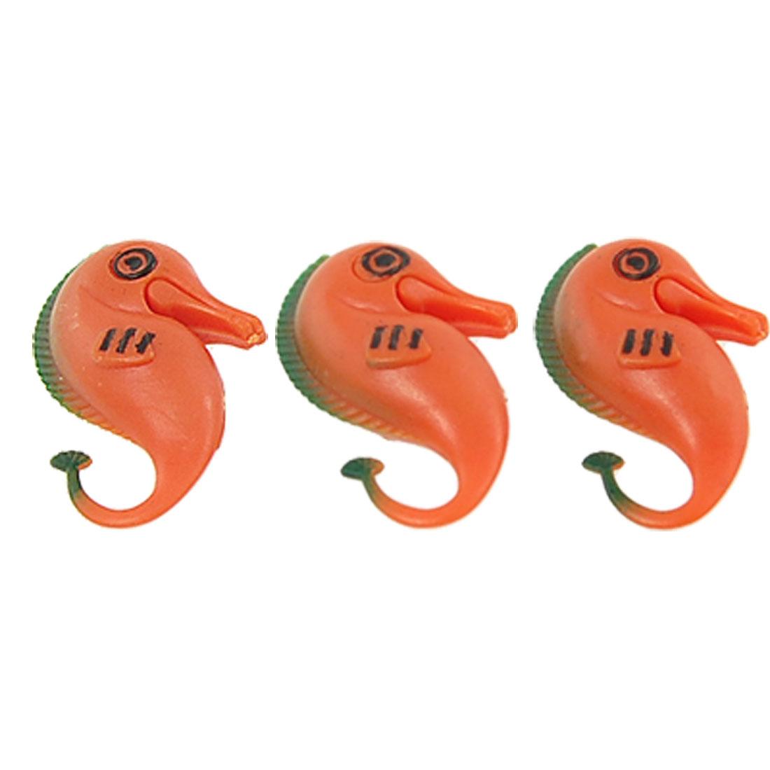 Fish Aquarium 3 Pcs Orange Plastic Seahorse Ornament Decor