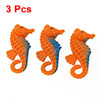 Aquarium Orange Blue Nonslip Plastic Seahorse Decor 3 Pcs