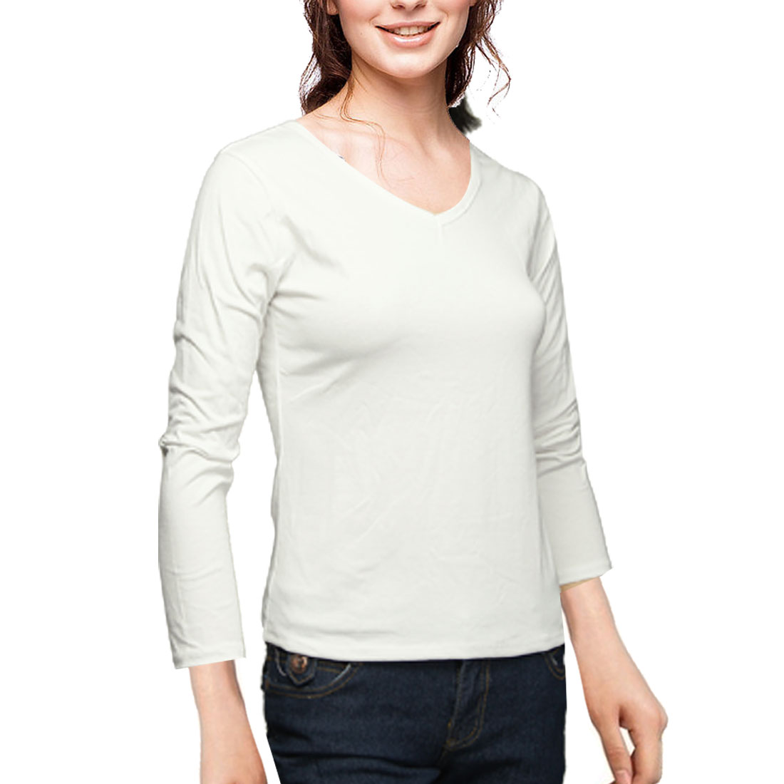Lady Stretch U Neck Long Sleeves Spring T-Shirt Top